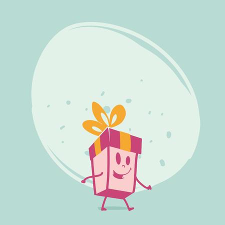 comic characters: Funny gift box. Comic characters.