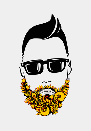 burly: Beard and mustache man. Traditional Russian Style