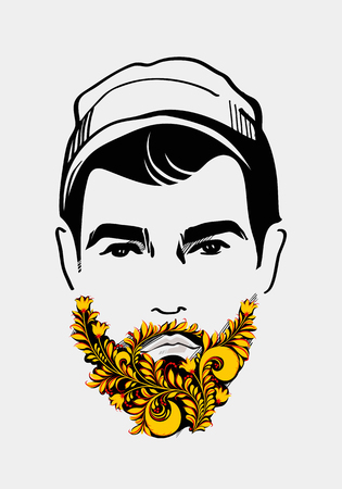 Beard and mustache man. Traditional Russian Style