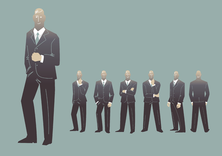 Business people group silhouette. Vector characters Illustration