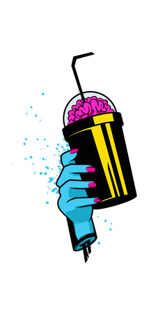 Zombie hand with cup. Hand drawn vector illustration 矢量图像