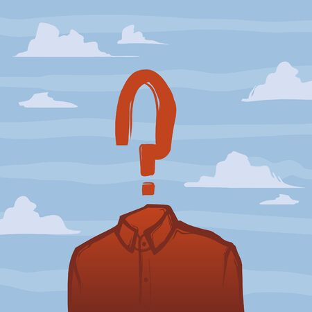 meditation man: Man without head and with question mark. Creative illustration Illustration