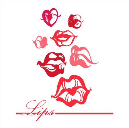 Print of lips kiss. Vector illustration