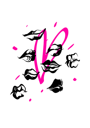 Fashion illustration with lips and bright heart