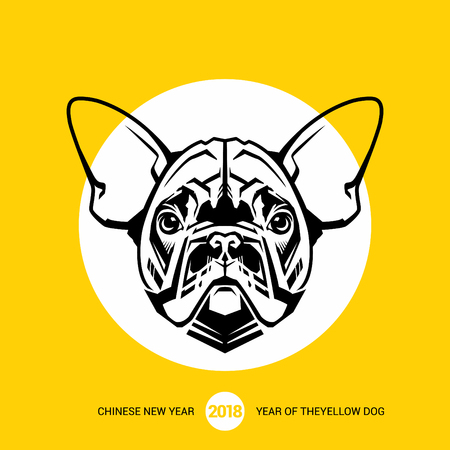 French Bulldog. 2018 Happy New Year greeting card. Chinese New Year of the dog. Vector illustration