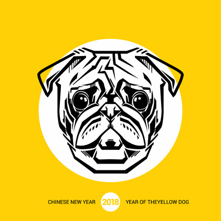 Pug. 2018 Happy New Year greeting card. Chinese New Year of the dog. Vector illustration