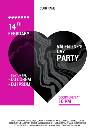 Valentine's Day party poster. Beautiful big marble heart. Vector illustration.