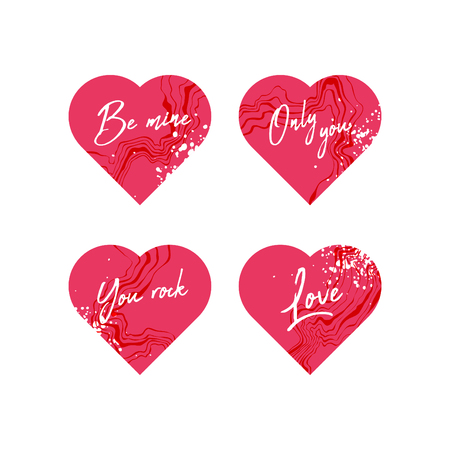 Set of hearts with marble texture Ilustração