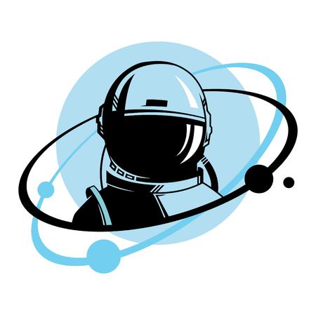 Illustrazione di astronauta con ricciolo. Illustrazione dello spazio.