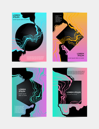 Abstract creative templates, cards, color covers set. Geometric design, marble, shapes. Trendy vector collection.