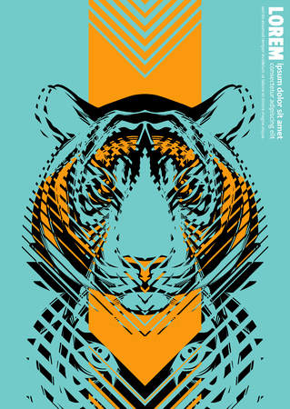 Design poster with a tigers head in the form of modern graphics with blue and yellow colors 向量圖像