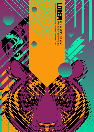 Abstract cover design poster with tiger