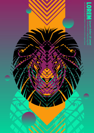 Abstract cover design poster with lion