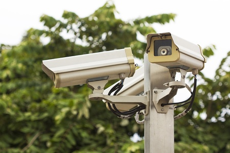 close circuit camera: Check the movement of the traffic cameras  isolated on white with clipping path