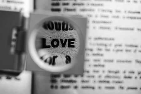 emotionality: Magnifying glass on the word love in a dictionary.