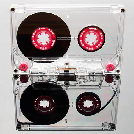 audio cassette: Audio cassette tape, pink