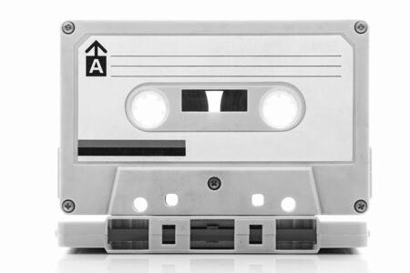 audio cassette: Audio cassette tape, black and white