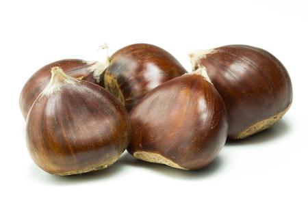 Chestnuts isolated on white background. Studio shot.
