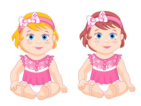 petite: little girls sitting in pink blouse and pamersah Illustration