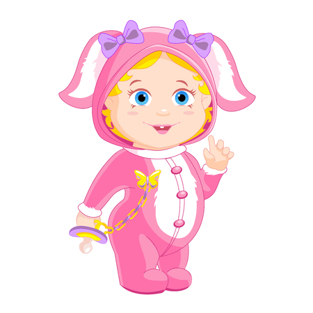 handles: little girlie in a pink bunny costume with a pacifier in the handles Illustration