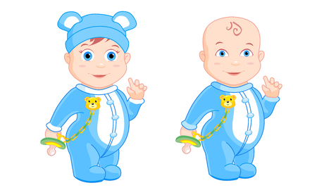 petite: little boys standing with a pacifier in his hands