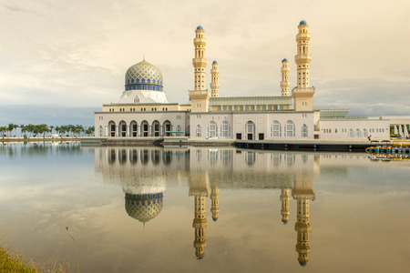 likas: Harmony Mosque in the morning at the lake Stock Photo