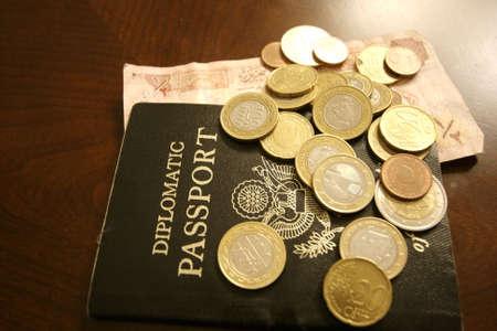 Passport and foreign money Banco de Imagens