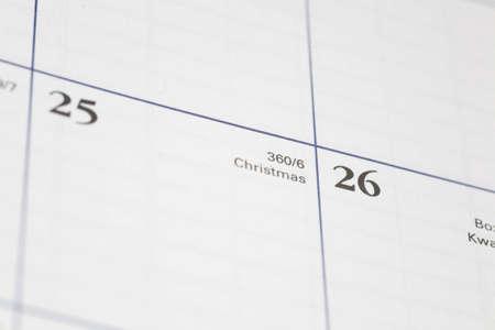 Christmas day shown on a calendar
