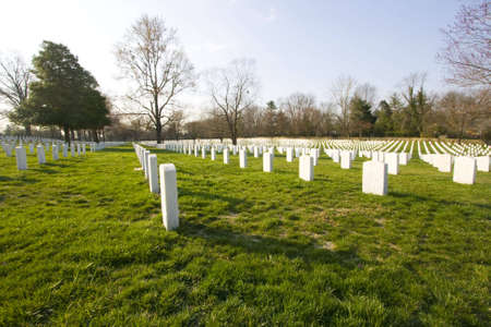 Lines of white granite headstones marking graves of veterans. Rememberance of sacrifice by brave soldiers.
