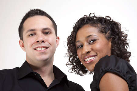 causcasian: A male and female smiling in a happy pose Stock Photo