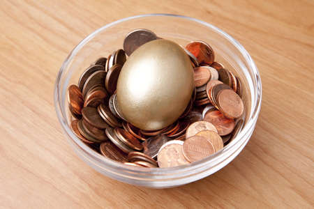 A golden egg laying in a bed of coins in a bowl as if a nest egg