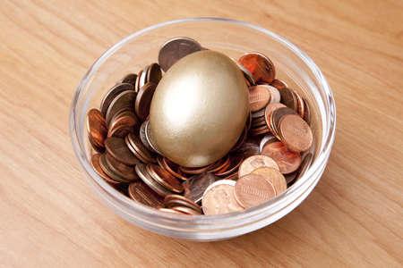 gniazdo jaj: Złoty jaj w łóżku monet w miskę jakby gniazdo jaj