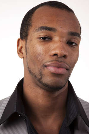 Headshot of african american man, emphasizing right side of face. Stock Photo