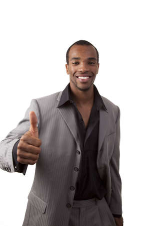 African American businessman giving a thumbs up sign Stock Photo