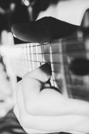 Boy playing eletric guitar Stock fotó