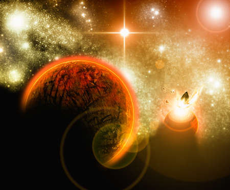astrophysics: abstract red planet hit by asteroid