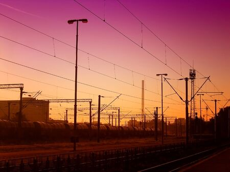 railroad station platform: Abstract railroad on the sunset