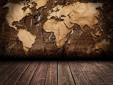 africa continent: Grunge world map room