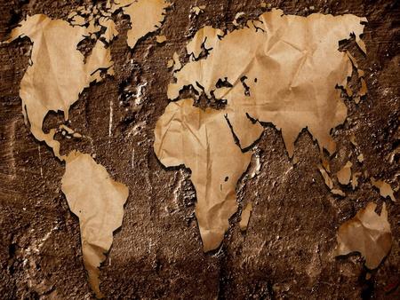 oversea: Grunge map Stock Photo