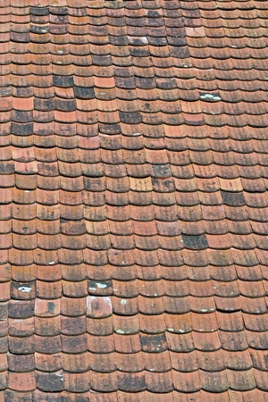 Old red tiled roof photo