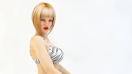 Sexy blonde, 3d photo