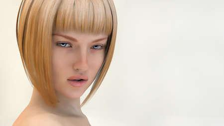 Blonde portrait, 3d photo