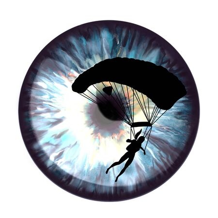 Iris with a flash from the sun reflected in it. Multicolored. Black silhouette of woman parachutist.