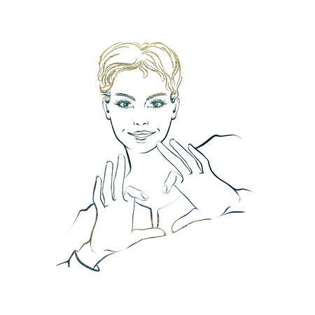 Beautifull woman with short hair, showing hands in heart form, smiling. Multicolored outline. Stok Fotoğraf