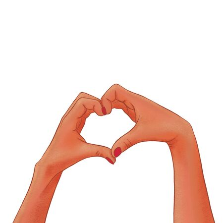 Drawn womans dark-skinned hands making a heart shape on a white background. Love sign. Фото со стока