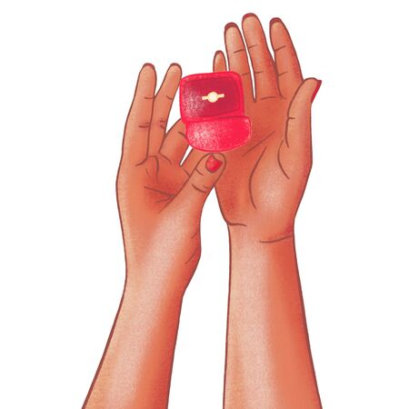 Romantic proposal, wedding or Valentine's Day scene. Drawn woman's dark-skinned hands holding box with engagement ring on white background, top view. Banque d'images - 132010871