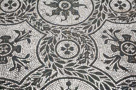 ヴィラ アドリアナのローマ時代のモザイク 写真素材