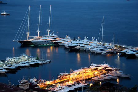 nocturnal: Nocturnal view of Naples marina with boats and ships
