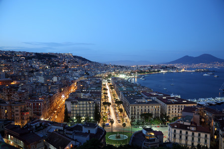Night view of Naples Italy