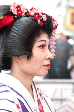 the soprano: Naples, Italy, September 12 2015: Oriental Festival - Japanese soprano waiting for her performance